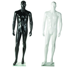 Glossy Male Mannequin With Right Leg Forward