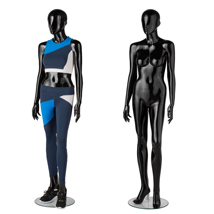 Premium Fiberglass Glossy Black Female Full Body Mannequin