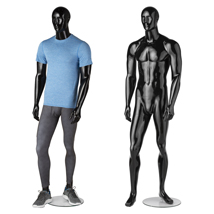 Premium Fiberglass Glossy Black Full Body Male Mannequin