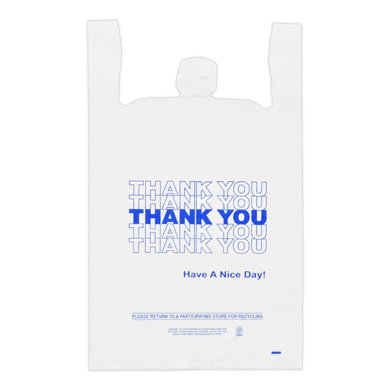 Blue Thank You Plastic T-Shirt Bag- 18 x 8 x 30 - Box of 500