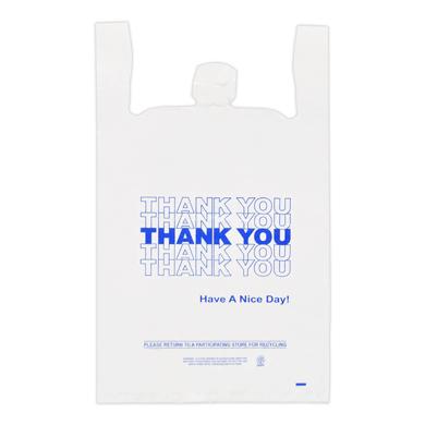 Blue Thank You Plastic T-SHIRT Bag- 18 x 8 x 30 - Box of 500