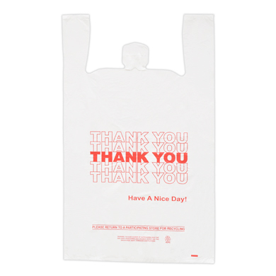 Red Thank You Plastic T-Shirt Bag- 18 X 8 X 30 - Box Of 500