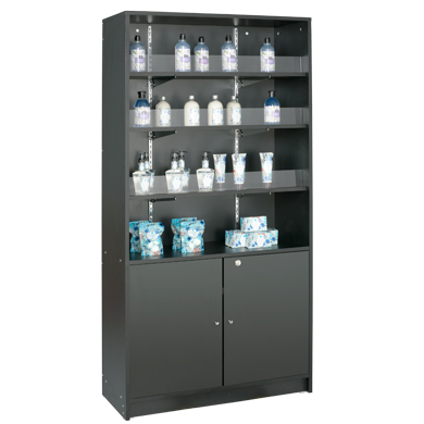 4-Shelf Floor Standing Wood Display With Storage - Black