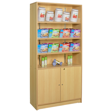 4-Shelf Floor Standing Wood Display With Storage - Maple