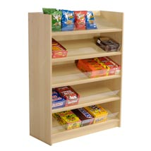 5 Shelf Floor Standing Snack Display - Maple