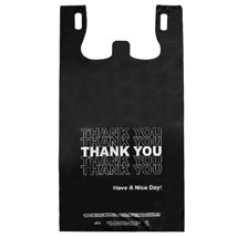 Black Thank You Plastic T-Shirt Bag- 11.5 X 6.5 X 21.5 - Box Of 800