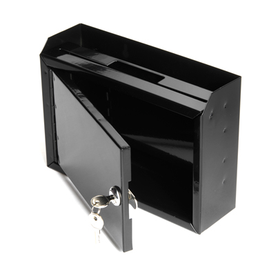 Locking Wall Mount Drop Box with Drop Slot - Black
