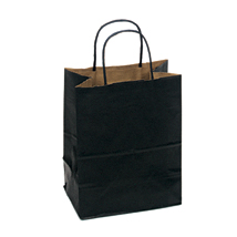 Black Paper Shopping Bag- 8 x 4.75 x 10.25 - Box of 250