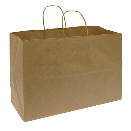 Kraft Paper Shopping Bag- 16 x 6 x 12 - Box of 250