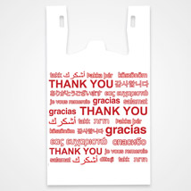 Multi Language Thank You Plastic T-Shirt Bag- 11.5 X 7 X 21- Box Of 1000