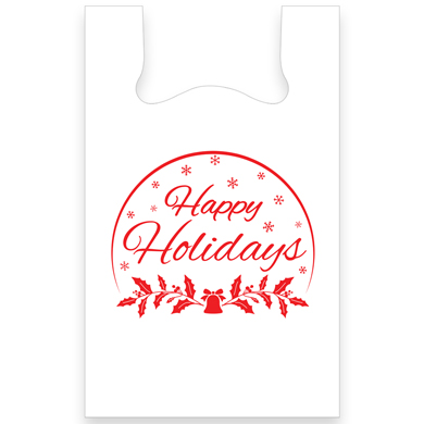 Happy Holidays Plastic T-Shirt Bags 11.5 X 6 X 21 - Box Of 1000