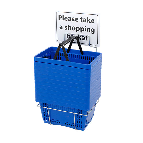 Blue Plastic Shopping Baskets with Stand - Twelve Basket Set