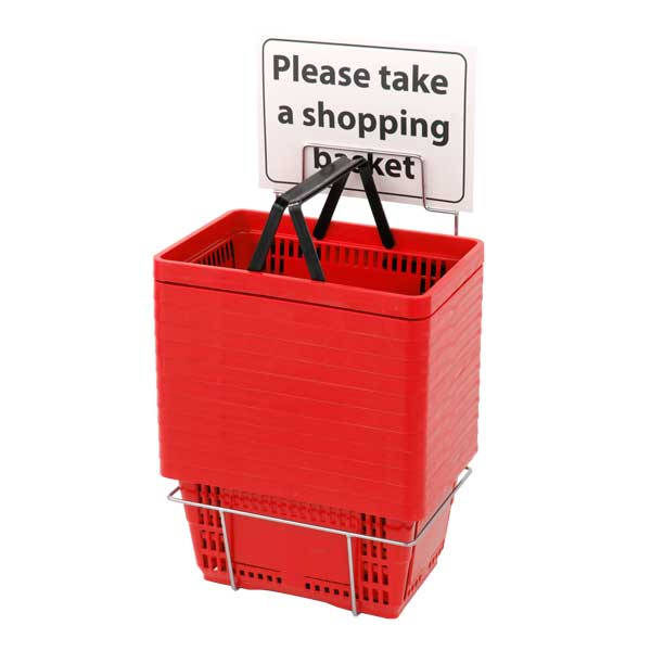 Shopping Baskets With Stand, Set Of Twelve Red Plastic Baskets