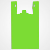 Bright Green Plastic T-shirt Bags- 11.5 in. x 6 in. x 21.5 in.