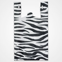 Zebra Print Plastic T-Shirt Bags - 11.5 X 6 X 21.5 - Box Of 500
