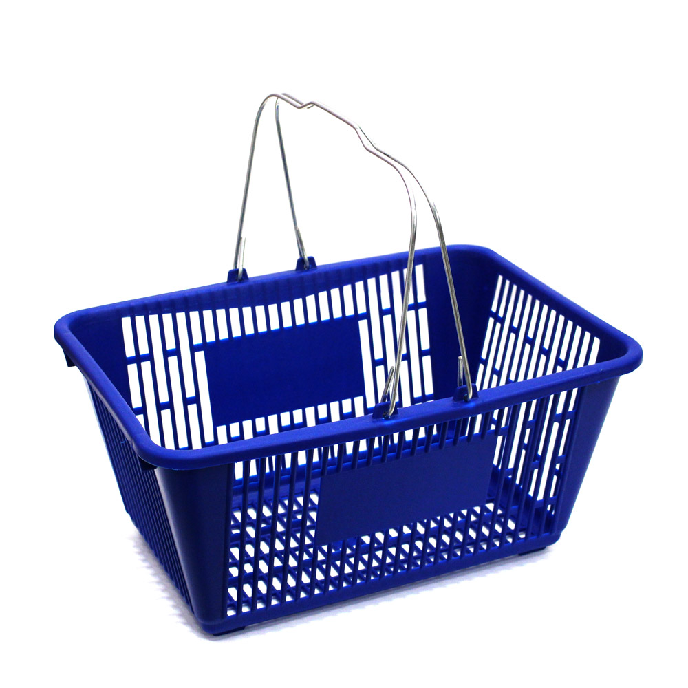 Large Blue Plastic Shopping Basket - 18 3/4 In. W X 12 1/2 In.