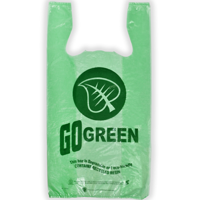 Go Green Biodegradable Plastic T-Shirt Bag - 11.5 x 6.5 x 21 - Box of 700