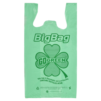 Heavy-Duty Go Green Biodegradable Plastic T-Shirt Bag - 12 X 7 X 22 - Box Of 700