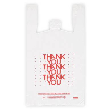 Red Thank You Plastic T-Shirt Bag - 11.5 in x 7 in x 21 in