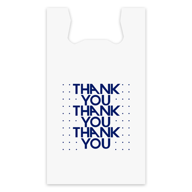 Blue Thank You Plastic T-Shirt Bag -11.5 in x 6 in x 21 in