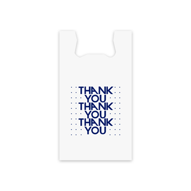 Blue Thank You Plastic T-Shirt Bag- 10 in x 5 in x 17 in