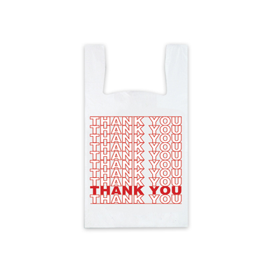 Red Thank You Plastic T-Shirt Bag- 10 X 5 X 17 - Box Of 1000