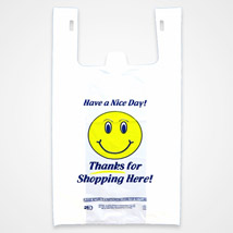 Smiley Thank You Plastic T-Shirt Bags - 12 X 7 X 21 - Box Of 1000