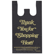 Black Plastic Thank You T-Shirt Bags- 10 X 5 X 18 - Box Of 1000