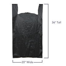 Heavy Duty Jumbo Black Plastic T-Shirt Bags - 20 X 10 X 36 - Box Of 200
