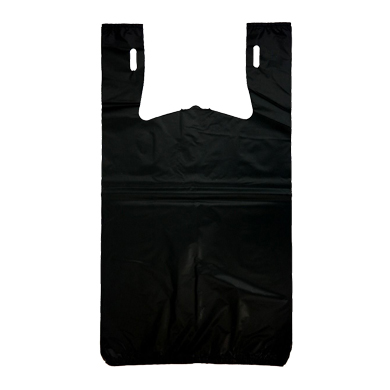 Heavy Duty Black Plastic T-Shirt Bags - 11.5 X 6.5 X 21 - Box Of 500