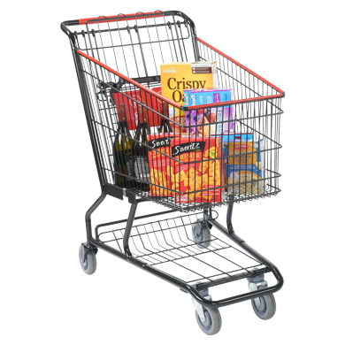 Black Metal Wire Grocery Shopping Cart - Standard Size