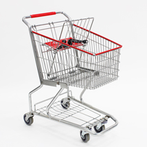 Chrome Wire Grocery Shopping Cart - Compact Size