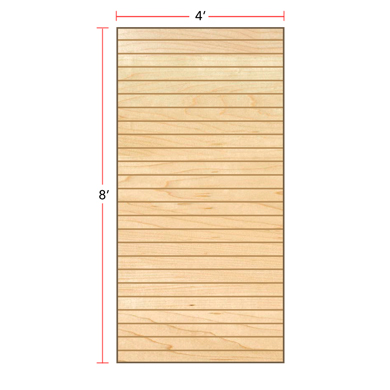 Maple Vertical Slatwall Panels - 8' H x 4' W