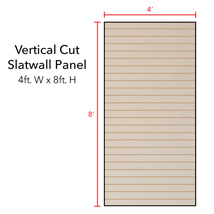 Almond Vertical Slatwall Panels - 8' H x 4' W