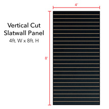 Black Vertical Slatwall Panels - 8' H x 4' W