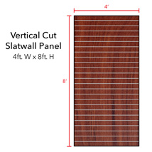 Cherry Vertical Slatwall Panels with Metal Inserts - 8' H x 4' W