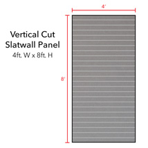 Gray Vertical Slatwall Panels with Metal Inserts - 8' H x 4' W