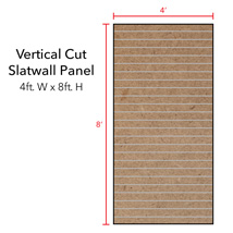 Paint Grade Vertical Slatwall Panels with Metal Inserts - 8' H x 4' W