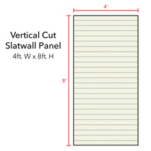 White Vertical Slatwall Panels with Metal Inserts - 8' H x 4' W