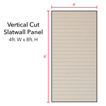 Almond Vertical Slatwall Panels with Metal Inserts - 8' H x 4' W