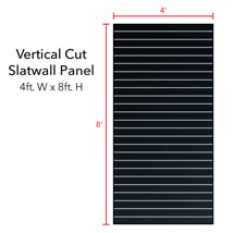 Black Vertical Slatwall Panels with Metal Inserts - 8' H x 4' W