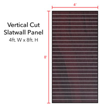 Mahogany Vertical Slatwall Panels with Metal Inserts - 8' H x 4' W