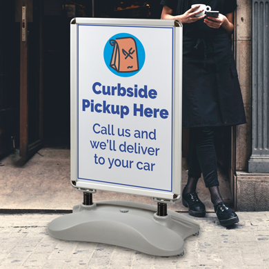 Sidewalk Sign Double Sided Poster Holder Water-Fill Base With Wheels - 23.5 X 35.75