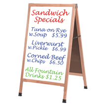 Double Sided Oak A Frame Sidewalk Sign With White Markerboard