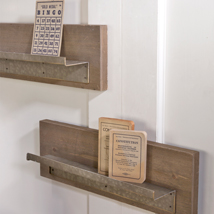 Natural Wood Wall Shelf Set With Metal Ledge