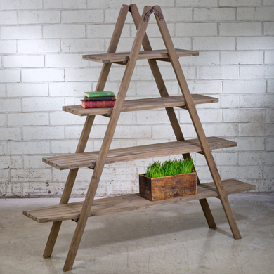 Rustic Wood Ladder A-Frame Shelving Display