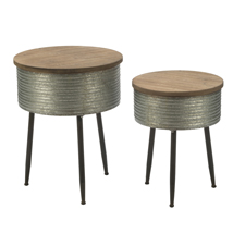 Set of 2 Industrial Round Storage Tables with Wooden Tops