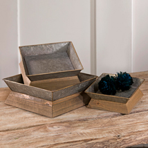 Set Of 3 Square Metal Trays With Natural Wooden Base