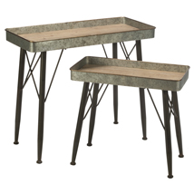Set of 2 Metal Tray Display Tables