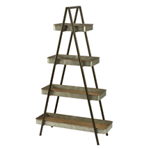 Industrial Ladder Shelving Display - 4 Tiers Of Metal Tray Wood Shelves